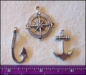 Steampunk Trinkets - Nautical Theme for Art Dolls - Silver compass rose, anchor, & fish hook