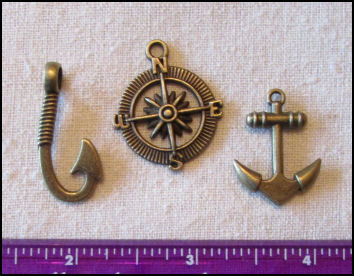 Steampunk Trinkets - Nautical Theme for Art Dolls - Bronze compass rose, anchor, & fish hook