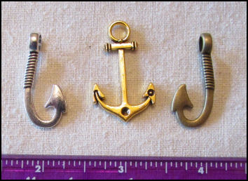 Steampunk Trinkets - Nautical Theme for Art Dolls -  Gold anchor, silver fish hook, &bronze fish hook
