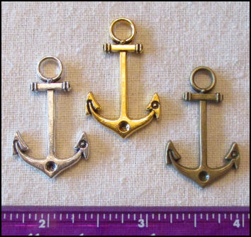Steampunk Trinkets - Nautical Theme for Art Dolls - Silver, gold, & bronze anchors