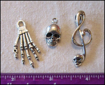 Steampunk Trinkets - Pirates Theme  for Art Dolls - Silver skeleton hand (flat), skull, & Treble clef with skull