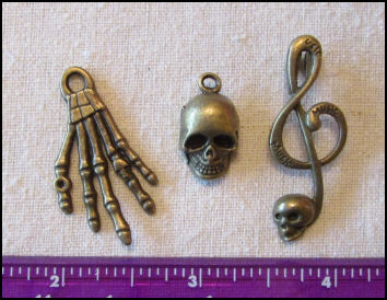 Steampunk Trinkets - Pirates Theme  for Art Dolls - Bronze skeleton hand (flat), skull, & Treble clef with skull