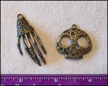 Steampunk Trinkets - Pirates Theme  for Art Dolls - Bronze skeleton hand (curved) & flat skull