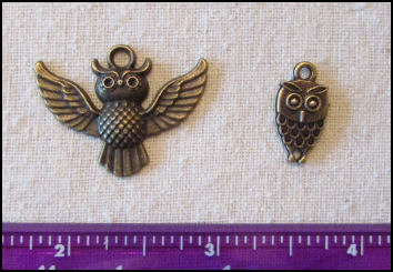Steampunk Trinkets - Whimsical Theme for Doll Making - Bronze owls (2)