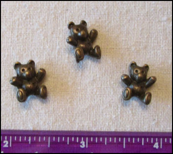 Steampunk Trinkets - Whimsical Theme for Doll Making - Bronze teddy bears (3)