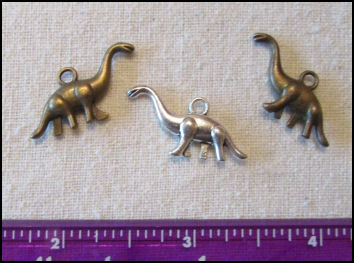 Steampunk Trinkets - Whimsical Theme for Doll Making - Silver dinosaur(1) & bronze dinosaurs(2)