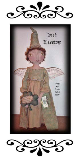 "Learn how to use your printer to create the blessing on the shamrock held by this 24"" angel with painted and needlesculpted features and quilted wings."