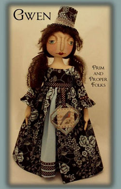 "The pattern for this sweet 26"" folk art doll includes the blue bird handtag."