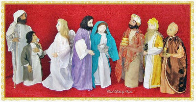 Nine Piece Nativity Set CD - Cloth Dolls, Pattern Available for Sewing Instructions
