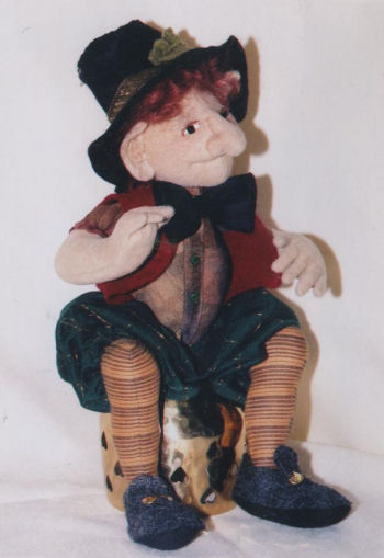 "This pattern makes a 9"" leprechaun doll perfect for a Saint Patrick's Day table decoration."