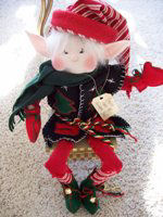 "The pattern for this absolutely delightful 22"" elf dressed in an outfit made from children's tights and felt comes with a CD full of step-by-step construction photos. Requires 1/4 yard Craft Velour."