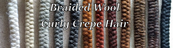 Braided Wool Curly Crepe Hair for Doll Making.