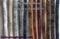 Braided Wool Curly Crepe Hair For Doll Hair and  Dollmaking.