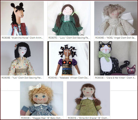 Cloth Doll Patterns, PDF downloads by Rebecca McGovern