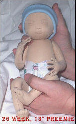 """Preemie"" Cloth Doll Pattern using Windsor Comfort Dolskin Fabric"