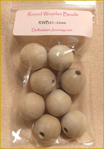 4 sizes of wood beads for your crafting or doll making projects!