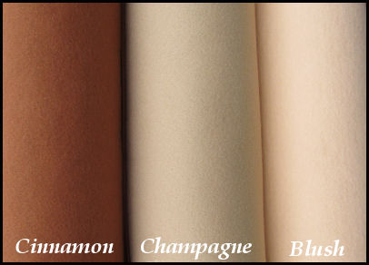 Wool Blend Felt Cinnamon, Champaign and Blush - Wool and Rayon Blend